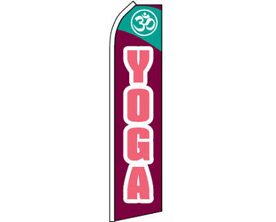 YOGA Om Swooper Banner Feather Flutter Bow Tall Curved Top Flag Sign
