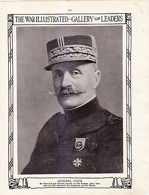 World War 1, General Foch, Marne 1914, Somme, 1916, 2 Pages