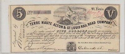 Scarce $5 Terre Haute 1859 Alton St Louis Rail Road Obsolete Currency