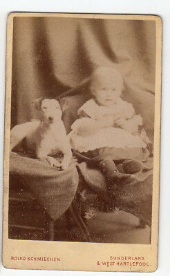 CDV Baby with Jack Russell Terrier Dog by Schmiechen of Sunderland cute