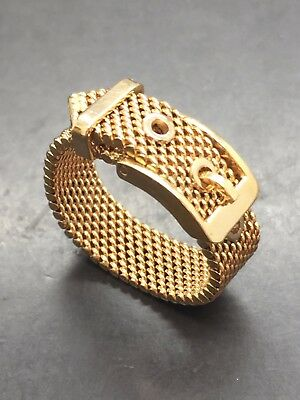 18ct Yellow Solid Gold Mesh Buckle Ring