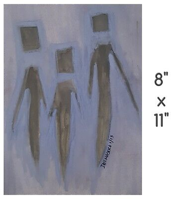 """Bipolar Brut Art Marci Del Mastro Outsider Abstract Ghosts 2013 8""""x 11"""" Ooak"""