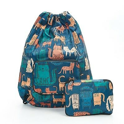 Funky Cat Foldable Drawstring Bag Navy By Eco Chic