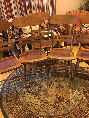 Lot Of 5 Antique Dinning Room Chairs With Tooled Leather Seats W Rivets