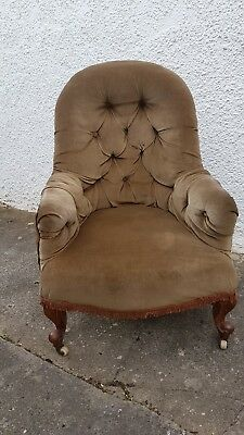 victorian nursing chair iron backed has been upholstered