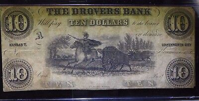 $10 Drovers Bank 1856 Leavenworth Kansas! NO RESERVE!
