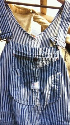 Vintage 50s 60s Penneys Big Mac Square Bak hickory striped overalls men's 38
