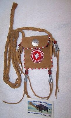 Hand Made Small Beaded Neck Pouch Rendezvous Black Powder Mountain Man 08