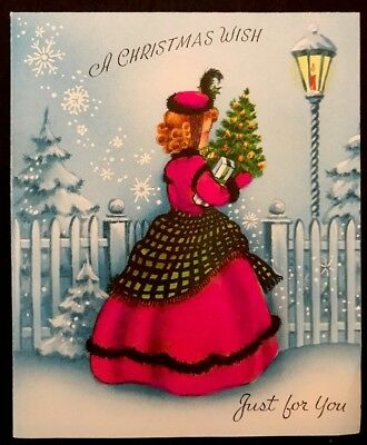 Vintage Christmas Card Beautiful Woman Red Victorian Fur Coat In Snow w/ Gifts