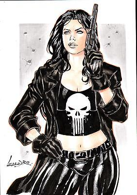 "Female Punisher (09""x12"") by Leandro - Ed Benes Studio"