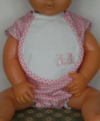 """PINK ROMPER & BIB *BRAND NEW REPLACEMENT* for 1960s 16"""" TINY TEARS DOLL 16D"""
