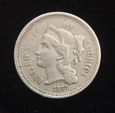 1867 Three Cent Nickel Early U.S. Collectible Coin
