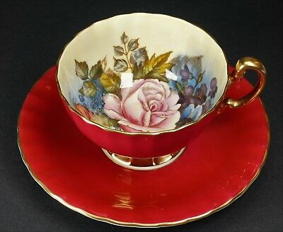 Aynsley Gold Ruby Red Pink Rose & Floral J.A. Bailey Cup and Saucer - Beautiful!