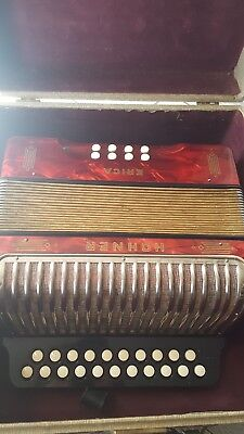 Vintage hohner erica c/f button 8 bass 2 row accordion