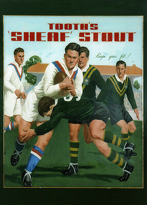 Tooth's Sheaf Stout Old Foes Aust v UK photoposter 325x467mm league beer bar