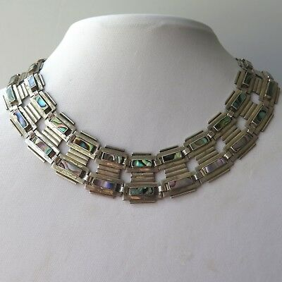 Vtg 1950s - 60s Taxco Mexican Sterling Silver Abalone Necklace Bracelet 146g Set