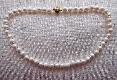 """Akoya Cultured Pearl Necklace with Diamante Clasp - 8-10 mm; 15 1/4"""" -18"""" long"""
