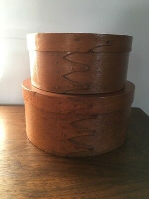 Vintage Shaker Style Round  Boxes Copper Nails