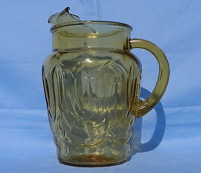 Vintage Anchor Hocking Amber Glass Pitcher Colonial Tulip