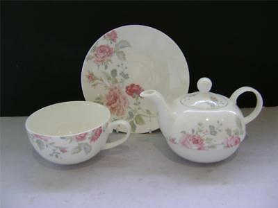 Pretty Tea Set for 1 in Pink Rose Design by Laura Ashley.