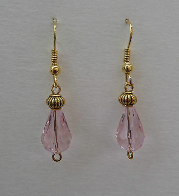 Small Faceted Pink Glass Drop Earrings With Gold Plated Detail ...hook