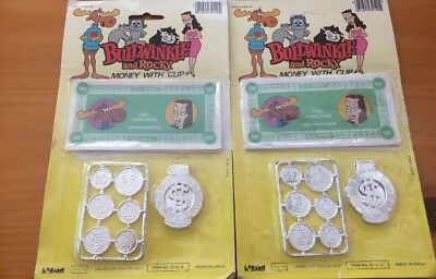 TWO BULLWINKLE & ROCKY Money with Clip Original package