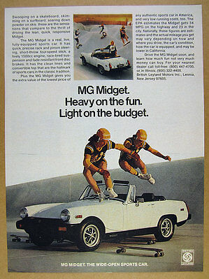 1978 MG Midget white convertible skateboarders skate park photo vintage print Ad