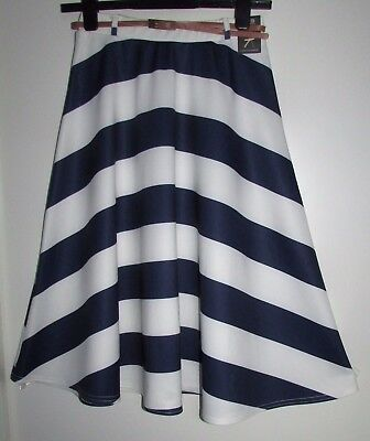 Size 8 Ladies Skirt With Belt New With Tags Navy & White Striped By Atmosphere