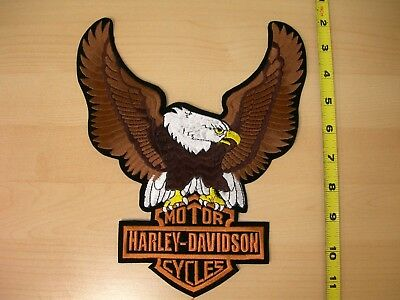 "Harley-Davidson Brown Up-wing Eagle Large Patch 8 1/4"" x 10"" - Made in the USA"