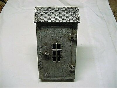 Vintage Hammered Cast Aluminum Mailbox Unusual Wall Mounted Excellent Condition