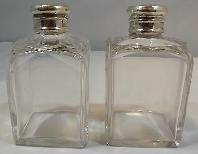 Antique Pair Of Cut Glass Perfume / Toilette Bottles With Stoppers And Caps