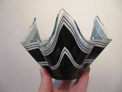 Chance Glass Handkerchief Vase Black & White