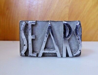 Vintage Sears Roebuck Desk Plate Advertising Logo Heavy Cast Metal