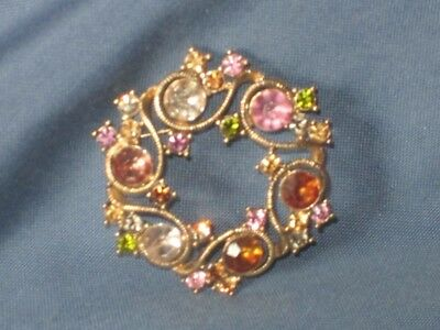 Vintage Signed MONET Gold-Tone Metal Multicolor Rhinestone Pin Brooch