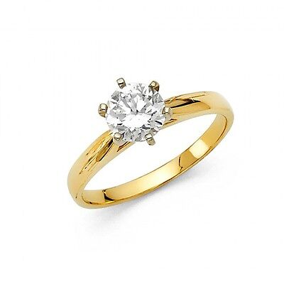 14k Yellow Gold Fancy Vintage Cubic Zirconia Engagement Ring Resizable - Size 7*