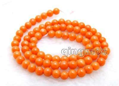 """SALE small 5-6mm Natural Orange Round coral Loose Beads strand 15"""" - los659"""