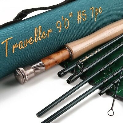 """Fly Rod Travel Fishing Rod -7 Weight - 9'0 """" - Carbon Fiber 30T +36T Sk Carbon"""