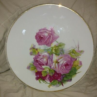Hand painted 91/2 inch German plate made by C T Altwasser - roses
