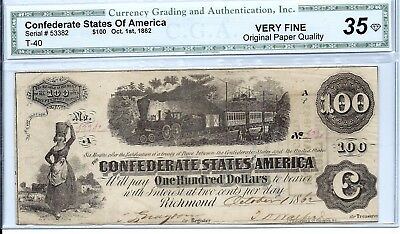 1862 T 40 Diffused Steam $100 VERYFINE NOTE WITH FULL PROTECTION