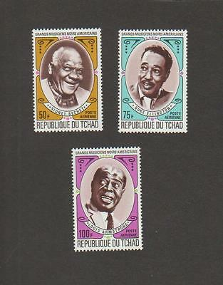 Chad C89-C91 NH - Duke Ellington, Sidney Bechet, Louis Armstrong stamps