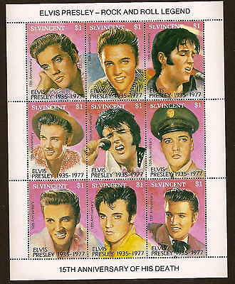 St. Vincent 1729 - Elvis Presley sheet of nine stamps - 15th death anniv 1992 NH