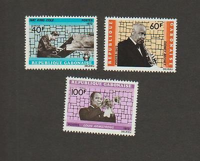 Gabon 295-297 NH - Nat King Cole, Sidney Bechet, Louis Armstrong stamps
