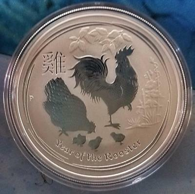 2017 Australian Year Of The Rooster, 1Oz .9999 Fine Silver Gem Bu.perth Mint