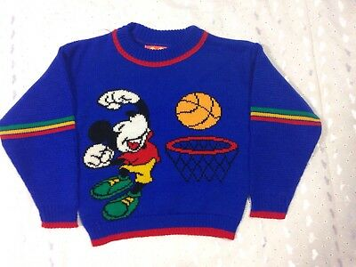 Vintage Disney Mickey Mouse Kids Sweater Blue Size 3 Halloween Dress Up