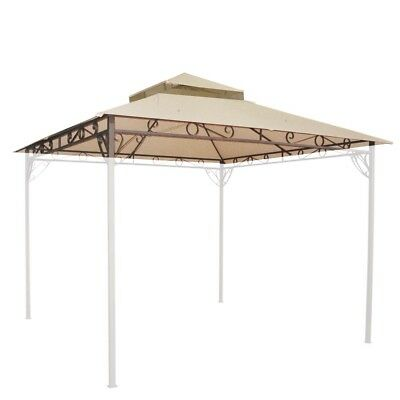 10.6'x10.6' Waterproof Gazebo Top 2 Tier Replacement Outdoor Canopy For Madaga