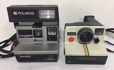 Lot of 2 Vintage Polaroid Instant Rainbow Land Cameras Parts or Repair Only