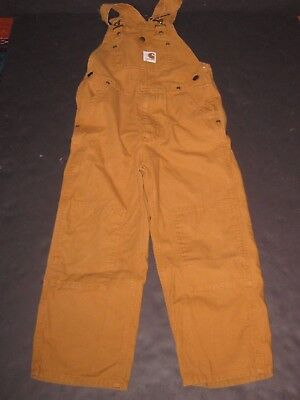 Boys Size 6 Carhart Brown Overalls Bibs Fall Winter Clothing