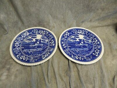 """2 Copeland Spode's Tower Round Platter or Chop Plates 12.75"""""""" Glossy~Oval Mark"""