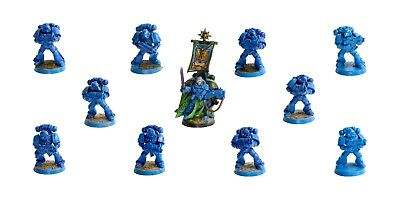 Warhammer 40K Space Marines Captain + Tactical Squad - Some Paint