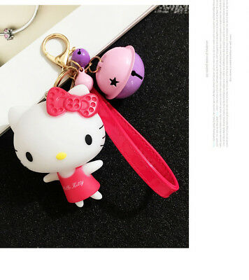 Cute Red Bow Hello Kitty Keychain with Bell Key Ring Gold Plated
